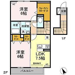 名鉄西尾線 福地駅 3.2kmの賃貸アパート 1階2DKの間取り