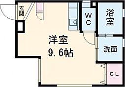 ARK岩塚駅南 A棟 1階ワンルームの間取り
