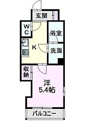 名古屋市営東山線 亀島駅 徒歩7分の賃貸マンション 2階1Kの間取り