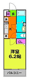 東武伊勢崎線 小菅駅 徒歩7分の賃貸マンション 2階1Kの間取り