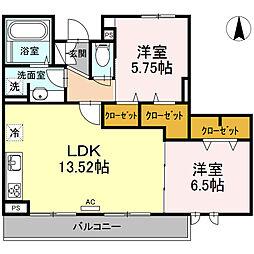仮称D-room六町SU 2階2LDKの間取り