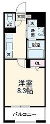 名鉄瀬戸線 瓢箪山駅 徒歩5分の賃貸アパート 1階1Kの間取り