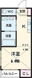 Yuu-Tao姫宮町 2階1Kの間取り