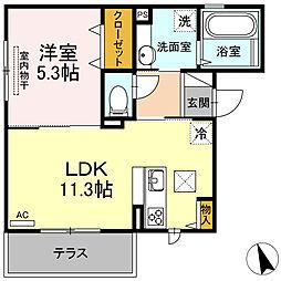 JR香椎線 宇美駅 徒歩13分の賃貸アパート 2階1LDKの間取り