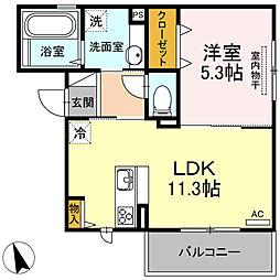 JR香椎線 宇美駅 徒歩13分の賃貸アパート 3階1LDKの間取り