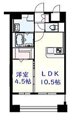 JR鹿児島本線 吉塚駅 徒歩10分の賃貸マンション 3階1LDKの間取り