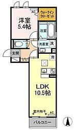 グランドソレイユII 1階1LDKの間取り