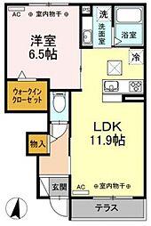 ルーナベールII 1階1LDKの間取り
