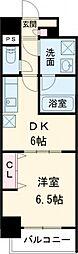 メイボーテセラ 11階1DKの間取り