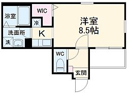 Cherim志賀本通 3階ワンルームの間取り