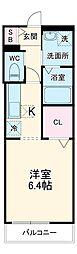 JR総武線 新検見川駅 徒歩6分の賃貸アパート 2階ワンルームの間取り