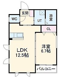 JR東海道本線 熱田駅 徒歩5分の賃貸マンション 4階1LDKの間取り