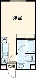 東急世田谷線 上町駅 徒歩6分の賃貸マンション 3階ワンルームの間取り
