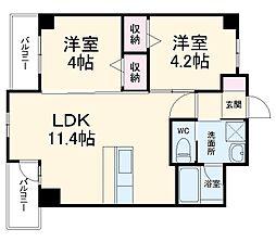 JR博多南線 博多南駅 徒歩6分の賃貸マンション 5階2LDKの間取り