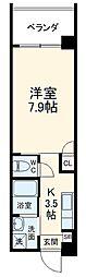 沖縄都市モノレール おもろまち駅 8kmの賃貸マンション 2階1Kの間取り