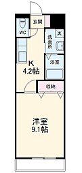 福岡市地下鉄空港線 東比恵駅 徒歩21分の賃貸マンション 2階1Kの間取り