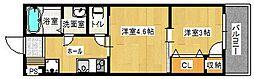 福岡市地下鉄七隈線 六本松駅 徒歩11分の賃貸アパート 2階2Kの間取り