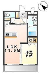 沖縄都市モノレール 赤嶺駅 徒歩33分の賃貸マンション 1階1LDKの間取り