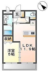 沖縄都市モノレール 赤嶺駅 徒歩33分の賃貸マンション 2階1LDKの間取り