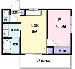 コーポENWA 3階1LDKの間取り