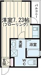 京王線 武蔵野台駅 徒歩4分の賃貸アパート 1階ワンルームの間取り