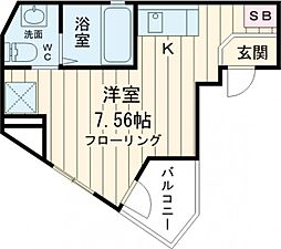 リベール武蔵野台 1階ワンルームの間取り