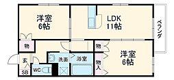 阪急京都本線 西山天王山駅 徒歩18分の賃貸マンション 2階2LDKの間取り