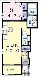 東武野田線 岩槻駅 徒歩19分の賃貸アパート 1階1LDKの間取り