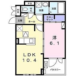 Luminous(ルミナス)II 2階1LDKの間取り