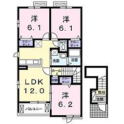 ベルソレイユ 2階3LDKの間取り