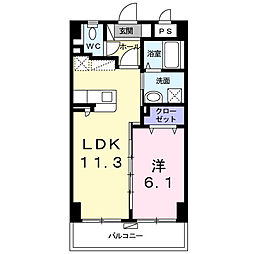 シャルマン リヴェール 3階1LDKの間取り