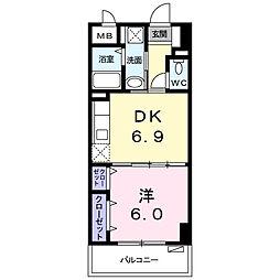 シャルマン リヴェール 4階1DKの間取り