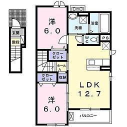 豊橋鉄道東田本線 赤岩口駅 徒歩19分の賃貸アパート 2階2LDKの間取り