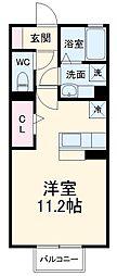 ファミーユ 2階ワンルームの間取り