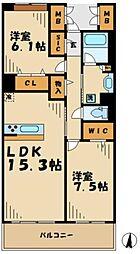 東京都稲城市若葉台2丁目の賃貸マンションの間取り