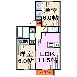埼玉県戸田市美女木5丁目の賃貸アパートの間取り