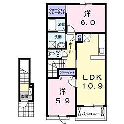 大阪府和泉市阪本町の賃貸アパートの間取り