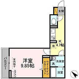 JR総武線 幕張本郷駅 徒歩10分の賃貸アパート 3階1Kの間取り
