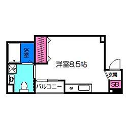 オリエントシティK 6階ワンルームの間取り