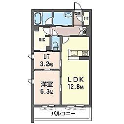 藤沢市湘南台1丁目マンション(仮) 2階1LDKの間取り