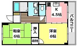 大阪モノレール 南摂津駅 徒歩9分の賃貸マンション 4階2Kの間取り