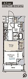 都営大江戸線 月島駅 徒歩1分の賃貸マンション 6階1DKの間取り