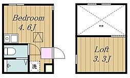 アルファ生田1号棟 1階ワンルームの間取り