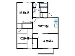 神奈川県伊勢原市下糟屋の賃貸アパートの間取り