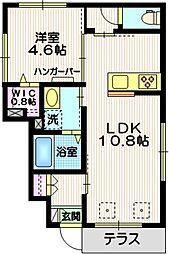 (仮称)羽田6丁目KマンションB棟 1階1LDKの間取り