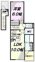 多摩都市モノレール 砂川七番駅 徒歩10分の賃貸アパート 2階1LDKの間取り