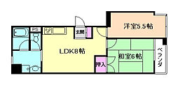 大阪府豊中市上野東3丁目の賃貸マンションの間取り