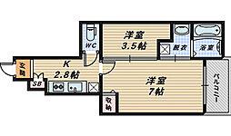 大阪府堺市西区浜寺石津町東1丁の賃貸アパートの間取り