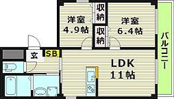 プルミエ野江内代B棟 5階2LDKの間取り
