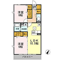 神奈川県横浜市都筑区北山田3丁目の賃貸アパートの間取り